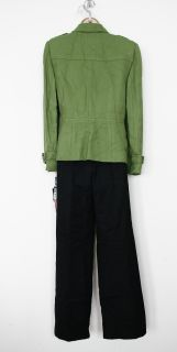 Tahari Arthur S Levine Charlie Green/Grey 2 PC Pant Suit Sz 4P Petite