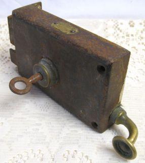 RARE Antique French Fontaine Iron Door Rim Lock Key Brass Pull Handle