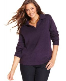 Karen Scott Plus Size Sweater, Long Sleeve Marled Johnny Collar