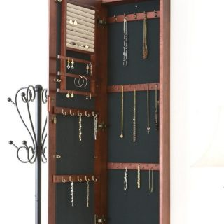 Cherry Wall Mount Jewelry Box Armoire Cabinet Organizer Mirror Storage
