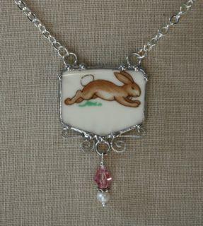 Doulton Bunnykins Bunny Rabbit Broken China Jewelry Necklace