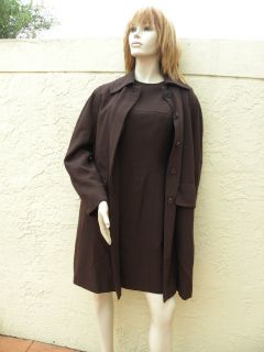 Lida BADAY 100 Wool Brown Dress Coat Suit Sz 6
