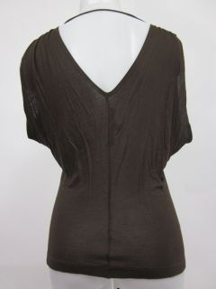 Lida BADAY Brown Ruffle Front Sleeveless Blouse Top S