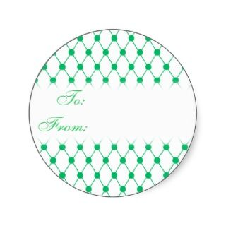 Green and White Netting Gift Tag Sticker