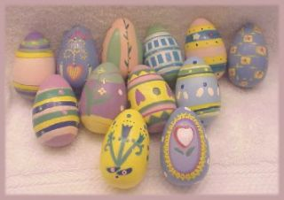 12 New Lillian Vernon Handpainted Wooden Easter Eggs