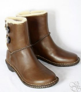 UGG Australia Lillie Gravy Brown Leather Womens Winter Boots New 3336