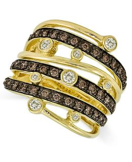Le Vian 14k Gold Ring, Chocolate and White Diamond Multi Row Ring (3/4