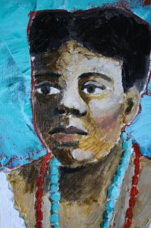 Original Desrosier Black Woman Folk Art Portrait Oil Painting