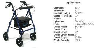 Roll Mobility Lightweight 4 Wheel Rollator Walker 1i