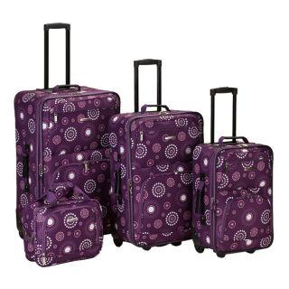 Rockland Designer 4 PC Luggage Set Purple Pearl $580