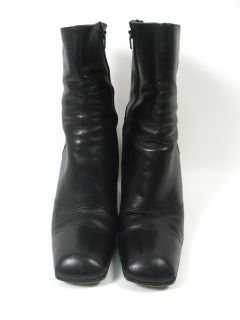 Michael Perry Black Leather Ankle Boots Heels Shoes 7