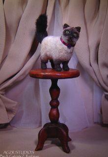 Dollhouse Miniature Cat Siamese Realistic Handmade & Toys kitten IADR