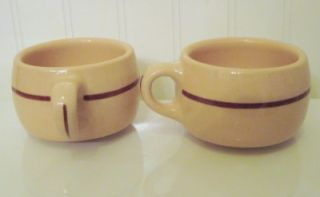 Walker China Heavy Restaurnt Ware Coffee Cups 1948 Tan Body Maroon