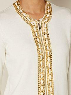 Michael Michael Kors Long sleeve cardigan with chain placket Cream