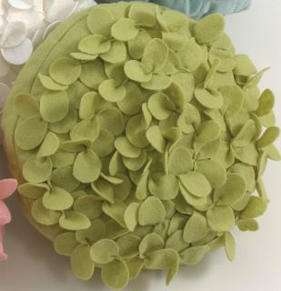 Evas Flower Garden Lime Green Petal Pillow 13 Round
