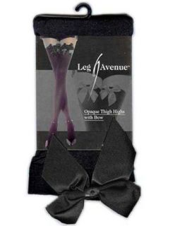 Leg Avenue Black Opaque Thigh High Stockings with Black Bow