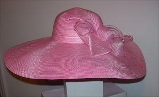 Gorgeous Hot Pink Wide Brim Hat Derby Church Wedding