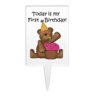 Bear With Cupcake Birthday Cake Topper