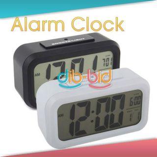 radio controlled lcd digital display black travel alarm clock. Black Bedroom Furniture Sets. Home Design Ideas