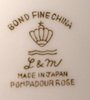 Lipper Mann China Pompadour Rose Cup Saucer Set