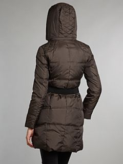 Andrew Marc Padded coat with faux fur hood Brown