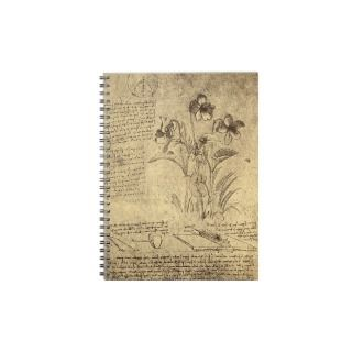 Drawing of Flowers and Diagrams by Leonardo da Vin Spiral Note Book