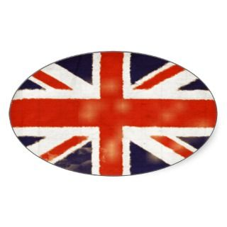 Vintage Union Jack Oval Sticker