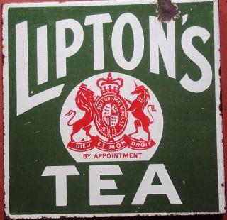 Liptons Tea 2 Sided Original Porcelain Enamel Sign