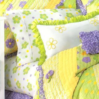 GABRIELLA Twin Quilt Floral Purple Yellow Lime Green Hot Polka Dot Set