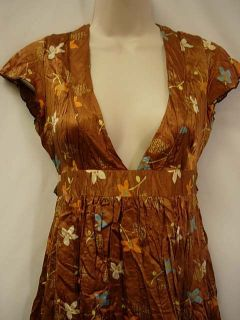 Free People Dress 2 Crinkle Satin Silk Charmeuse Brown Floral Ties in