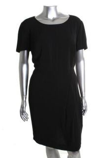 New Pleated Front Short Sleeve Little Black Dress Plus 18W BHFO