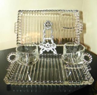 Boopie Clear Glass Luncheon Snack Plates Cups Anchor Hocking