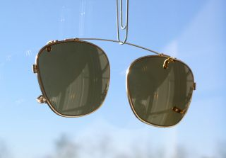 1940s AMERICAN OPTICAL AO GX11 Aviator Clip Ons GOLD w/ Amber Brown