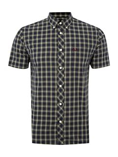 Fred Perry Short sleeved tartan checked shirt French Navy