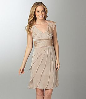 Adrianna Papell 081845870 Chiffon Cocktail Dress Fawn Sz 8 10 12 14