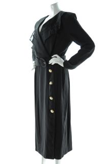 Vintage 80s Lindsey Scott Black Wrap Dress Ruffle Collar Womens 12