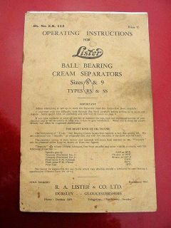 Old Lister Cream Separator Operating Instruction Manual