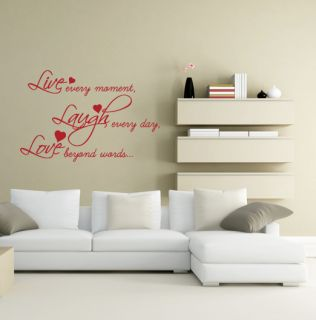 Live Laugh Love Quote wording Wall Sticker Decal Home Bedroom Lounge