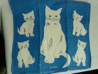 Vintage Vera Linen Dish Tea Towel Kitty Cat Kitten Mid Century Ladybug