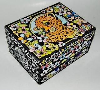 Flocked Jewelry or Trinket Box Decorated with Tiger for Little Girls