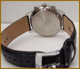 Seiko Mens New Leather Chronograph Black Dial Watch SNDC33P1