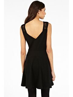 Oasis Butterfly cutwork ponte dress Black