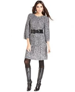 Style&co. Dress, Three Quarter Sleeve Marled Knit Sweater Dress