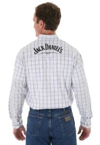 MJD222M Wrangler Mens Grey White Plaid Jack Daniels L s Shirt