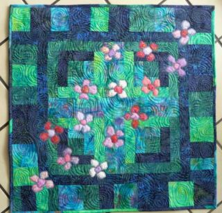 Finished Handmade Art Quilt Pacific Blossoms Bali Batik Quilt Fabric