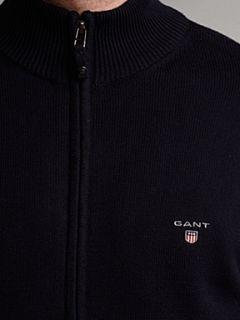 Gant Funnel neck full zip cotton cardigan Navy