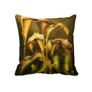 Golden Lilies By Night Pillow