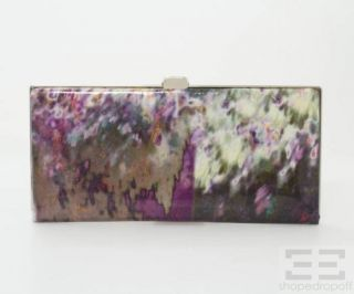 Lodis Purple Green Watercolor Print Coated Frame Clutch New