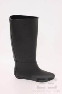 Loeffler Randall Black Rubber Low Wedge Back Zip Rain Boots Size 7
