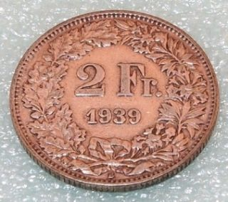 1939 B Switzerland 2 Francs Two Franc Swiss Silver Coin
